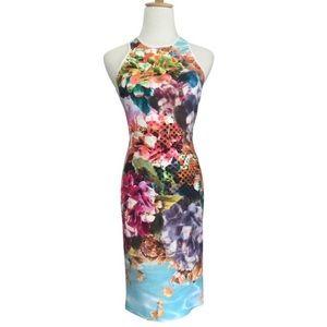 Clover Canyon Pool Flower Neoprene Bodycon Dress